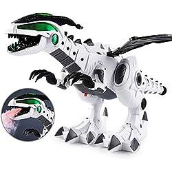 AOLVO Robots mecánicos de Dinosaurio con rociador de Agua con Luces Intermitentes, Dinosaurios educativos, Juguetes de dragón, Mundo jurásico o niños