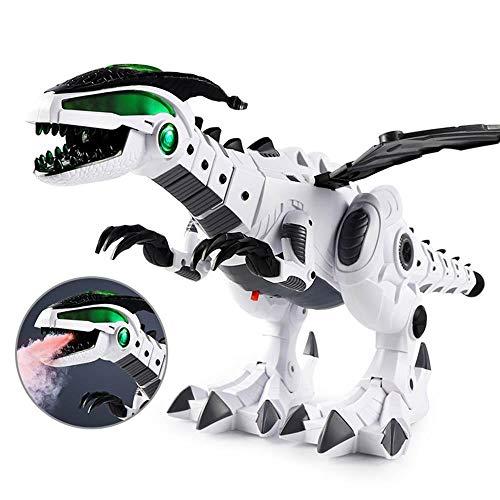 leegoal Elektrisch Dinosaurier Spielzeug Roboter Multifunktionale Walking mit Gehen, Simuliertem Brüllen, Sprühen, Kopfschütteln, Blinkende Lichter, Jungs Mädchen Kinder(Weiß)