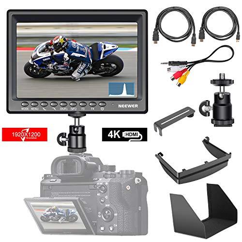 Neewer F200 Moniteur Ultra-Fin 7pouces IPS Screen 1080P HD 1920x1200 4k Sortie HDMI avec Histogram Focus Assist Surexposition Prompting pour DSLR Caméra (Battery Non Incluse)