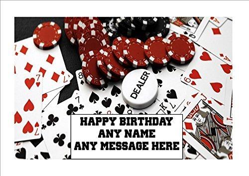 Neuheit Personalisiert GEBURTSTAG Spielkarten Poker Chips Gambing Kasino - 1 x A4 ESSBAR PREMIUM EINFACH ABZIEHBAR zuckerguss blatt Kuchen Deko Glitz Glitzer
