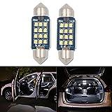 36mm Soffitte C5W LED Auto Glühbirne, HSUN 12Stück LEDs smd2016mit Canbus für KFZ-Innenraum Kuppel Glühbirnen Cargo Licht Kennzeichenbeleuchtung, 6000K, weiß, 2Stück