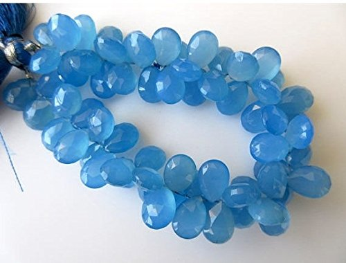 Blau Chalcedon facettiert birnenförmigem Briolette Perlen, birnenförmigem blau Chalcedon Perlen, je 11mm bis 12mm, 17,8cm Strand, gds644
