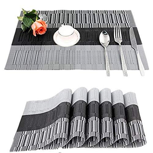 Leisial 6PCS Sets de Table Imperméabl PVC Rectangulaires Rétro Sets de Table Antidérapant Lavable Isolation Thermique Résistant à l'usure pour Cuisine(Moir)