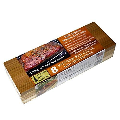 Cedar Plank Steak (Grillbretter aus Zedernholz, lang, 10 Packungen - 8 + 2 Kurze Bretter Perfekt für Salmon, Fisch, Steak, Gemüse und mehr Mehrfach verwendbar. Schnelles Einweichen.)