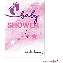 15 Invitations Baby Shower | DV _ 147 – DIN A6 – Fille Rose Baby Shower