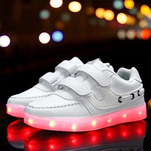 (Présents:petite serviette)JUNGLEST® 7 couleurs Unisexe Enfants LED Rechargeable Light-up Chaussures de sport USB Charge lu Blanc