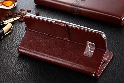 Für Samsung Galaxy S8 Plus Koffer, Solid Color TPU / PU Ledertasche Folio Flip Stand Brieftasche Case Cover mit 2 Karten Slot & 1 Cash Slot ( Color : Black ) Black