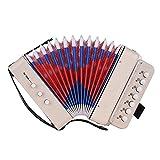 Youtaimei Zufriedenstellendes Produkt Mini 10-Tasten Kinder Akkordeon Spielzeug Unterstützt Bass Akkorde 14 Noten mit Reinigungstuch Pädagogisches Musikinstrument für Kinder
