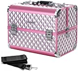 Songmics Silver Pink Cosmetic Case with Diamond Pattern for Makeup Artist Large Travel Storage for Jewellery Nail and Hair Accessories JBC319P