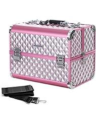 Songmics Kosmetikkoffer Schminkkoffer Schminkaufbewahrung Beauty case Schminkkasten Multikoffer Etagenkoffer mit Diamant-Muster silbernes Pink 36 x 28 x 23 cm (B x H x T) JBC319P