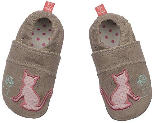 Anna & Paul Tapis D'éveil Chaussures chat 1196–avec semelles en cuir Gris - Grau (Stein)