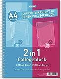 Toppoint Collegeblock ''Duo'' Din A5 kariert/liniert 50/30 Blatt, 6 Stück