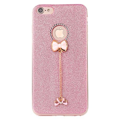 Clear Crystal Rubber Protettivo Case Skin per Apple iPhone 7 4.7, CLTPY Moda Brillantini Glitter Sparkle Lustro Progettare Protezione Ultra Sottile Leggero Cover per iPhone 7 + 1x Stilo - Silver Rosa