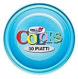 GIRM - S01496 - Piatti piani di plastica Azzurri 30 pezzi, piatti monouso per feste, piatti di plastica monouso, piatti piani colorati.