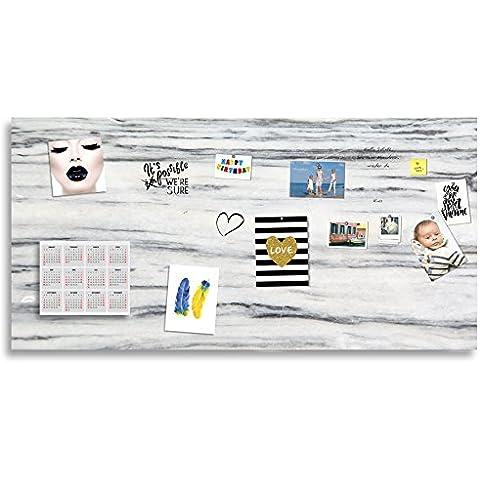 Mark tarjeta/pizarra magnética/Whiteboard Cristal Acrílico, varios tamaños), aspecto de mármol, incluye rotuladores y 10Super imanes  , 300x150 cm