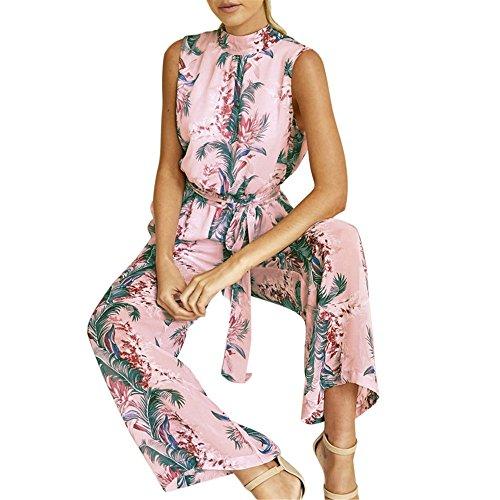 Italily - monopezzi e tutine,mini abito donna estate chiffon floreale stampato scollato-v tuta pagliaccetto senza spalline a pieghe elegante da sera cerimonia (pink, m)