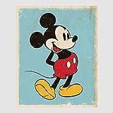 Kunstdruck Poster - Micky Maus Mickey Mouse Retro Walt Disney 40 x 50 cm ohne Rahmen