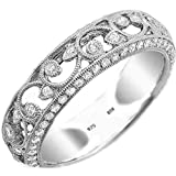 BestToHave Ladies Ring - 925 Sterling Silver Ladies Luxury Unique Wedding Engagement filigree Cubic Zirconia Band Ring - Size S - Comes with Luxury Gift Box.