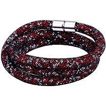 Morella Damen Strass Glitzer Wickelarmband oder Halskette mit Magnetverschluss