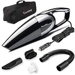 Tsumbay Aspiradora de Coche 5000PA, Aspirador de Mano 120W, Portátil Aspirador para Automóvil DC 12V, Limpiador de Seco y Mojado con 4.5m Cable, Filtro HEPA Lavable y Otros Accesorios Complementario