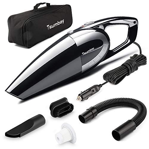 Tsumbay Aspirapolvere per Auto, 12V CC 120W 5000PA Aspirabriciole Multifunzione Portatile Bagnatp e Asciutto, 14.8 ft Cavo di Alimentazione con Filtro HEPA Lavabile, Nero