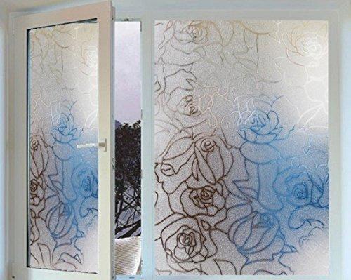Generic PVC 45x 200cm 3D Rose Muster Film, der die Glas Wohnzimmer Schlafzimmer Badezimmer Badezimmer Fenster Glas Tür Schiebetür Aufkleber (Glas-schiebe-regale)