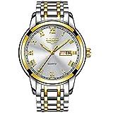 LIGE Wasserdicht Herren Uhren Edelstahl Analoger Quarz Armbanduhr Männer Mode Geschäfts Datum Gold Weiß Armbanduhren