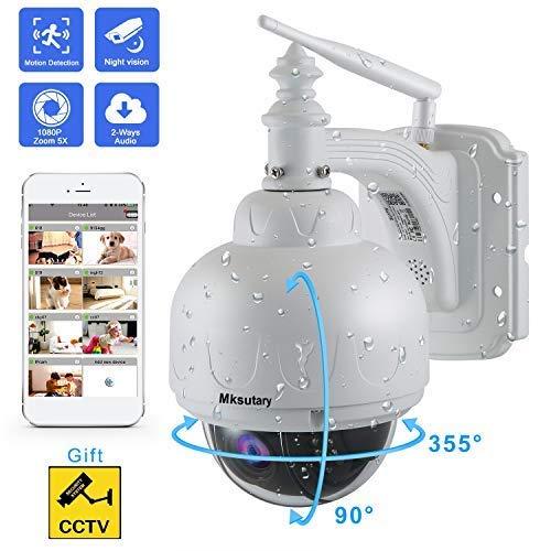 Dôme Caméra de Surveillance Wifi Sans Fil, IP Camera Surveillance Extérieure HD 1080P 360° avec 5X Zoom IR-Cut, Audio bidirectionnel, Vision Nocturne, IP66 Waterproof, Alerte de Détection de Mouvement