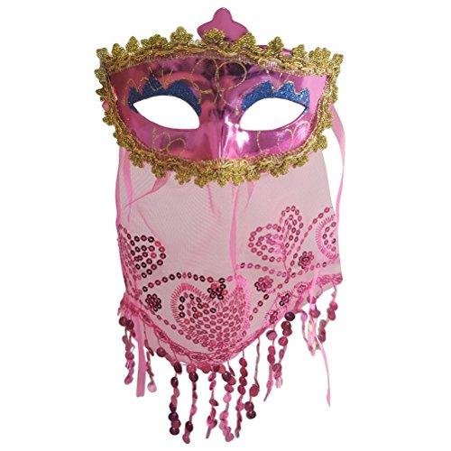 BESTOYARD Bauchtanz Maske Kostüm Schleier Maske Halloween Karneval Maskerade Cosplay Maske für Dance Party Zubehör (Rosy)
