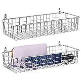 mDesign Juego de 2 estantes de pared de metal - Estantería de rejilla pequeña para pasillo, dormitorio, etc. - Organizador de cartas, carteras, gafas de sol o accesorios de baño - plateado