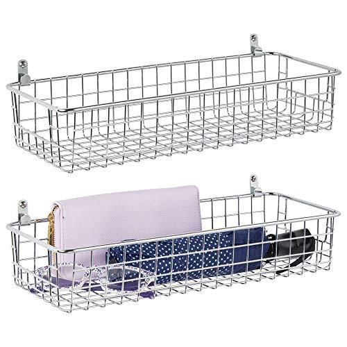Mdesign set da 2 mensole da parete in metallo - piccolo portaoggetti da appendere per ingresso, camera da letto e altro - mensola svuotatasche per lettere, occhiali o accessori bagno - argento