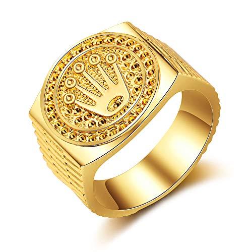 Special&kind Preferred Fashion Hip Hop 18K Gold Iced Out Crown Ring für Herren Verlobung Hochzeit Party Ringe Schmuck für Geburtstag, Valentinstag, Jahrestag GD-9