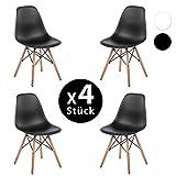 Merax® 4 x Set Wohnzimmerstuhl Esszimmerstuhl Kunststoff aus Buchenholz Weiß