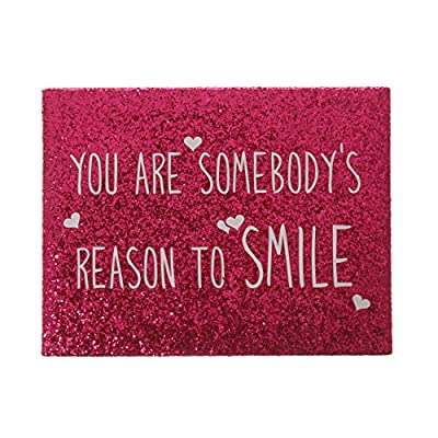 Claire's Girls and Womens Glitter Smile Quote Wall Canvas in Pink - cheap UK canvas store.