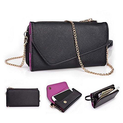 Kroo d'embrayage portefeuille avec dragonne et sangle bandoulière pour Gigabyte GSmart GX2/Mika MX Multicolore - Green and Pink Multicolore - Black and Violet