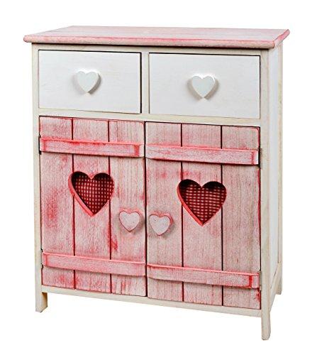 ts ideen landhaus kommode schrank herzilein shabby wei rosa im almh tten look regal f r. Black Bedroom Furniture Sets. Home Design Ideas
