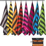 Fit-Flip Strandhandtuch XXL 160x80cm / Orange - Dunkelgrau gestreift- mikrofaser Strandtuch, Handtuch mit aufhänger, mikrofaser handtücher groß