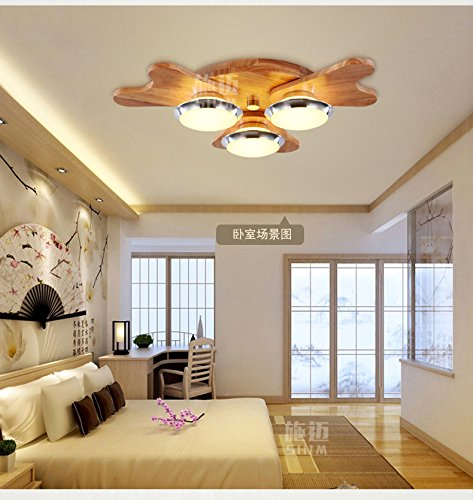 Larsure Vintage Modern Deckenleuchten Geweih Holzdecke Licht Holz  DECKENLEUCHTE LED Drei Schlafzimme