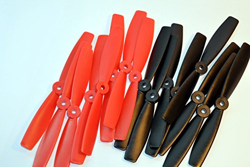 16PCS 6045 Bull Nose Props ABS Propeller CCW CW for QAV250 ZMR 250 270 280 Quadcopter Multi-rotor (Red Diabolical)