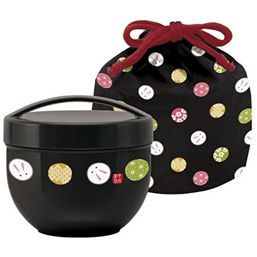 Tier Bento-box (Temari rabbit drawstring caf with bowl lunch box (black) KPDN6 (japan import))