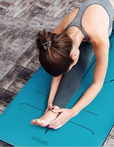 HLM- Yoga-Matte, PU Naturkautschuk Yoga-Matten-Body Line Sweat-absorbierende Anti-Rutsch-Fitnessmatte, Geeignet for Männer und Frauen Yoga Fitness Pilates (Color : Pink-c)