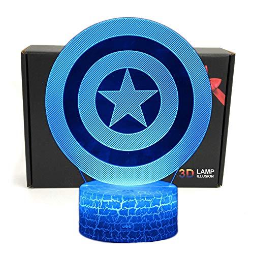 TriProC Lámpara de Mesa con luz USB, 7 Colores, luz de Noche, 7 Colores, ilusión óptica, superhéroe LED, con Cable de alimentación USB Capitan America