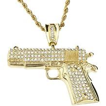 Cadena de Hip Hop Bling Iced Out - pistola oro