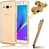 Vandot 3 in1 Set 0.7mm Soft Transparent Silikon TPU Rückseite Cover + Bling Diamant Bumper Rahmen Frame für Samsung Galaxy J5 Ultra Thin Dünn Strass Luxus Case Schutzhülle Premium Glitzer Matt Tasche Protection Kristall Case Glitter Protective Skin Back Shinning Cover Schale Ultraleicht Tasche Light Etui handytasche - Clear Klar Gold + Koala Tier Anti Staubschtz + Touch Pen