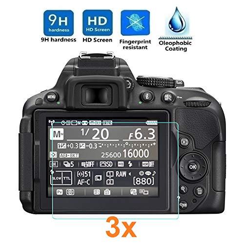 REY Pack 3X Panzerglas Schutzfolie für Nikon D5300 - D5500 - D5600, Displayschutzfolie 9H+ Härte, Anti-Kratzen, Anti-Öl, Anti-Bläschen