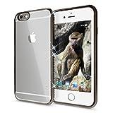 NALIA Handyhülle für iPhone 6 6S, Durchsichtiges Slim Silikon Case Transparente Rückseite & Strass-Bumper, Crystal Schutz-Hülle Cover Etui Dünn Backcover für Apple iPhone 6S 6, Farbe:Schwarz