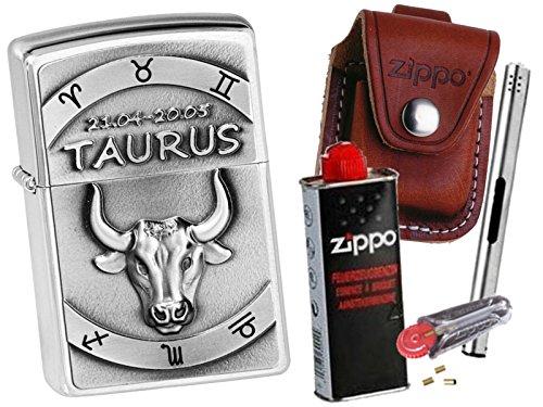 Emblem + Zippo POUCH mit Zippo Zubehör und L.B Chrome Stabfeuerzeug (mit CLIP Braun Pouch) (Stier Clips)