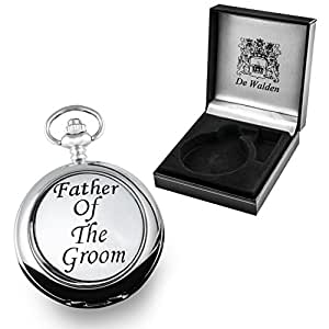 Engraved Mother of Pearl Face Pocket Watch with Pewter 'Father of the Groom' Case Front in a Gift Box