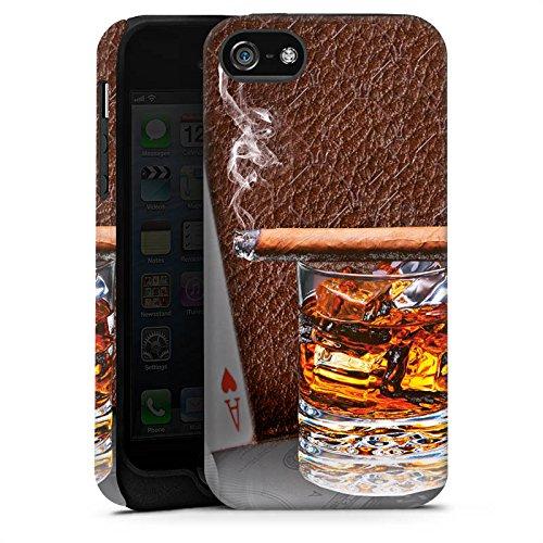 Apple iPhone X Silikon Hülle Case Schutzhülle Zigarre Whiskey Karten Tough Case matt