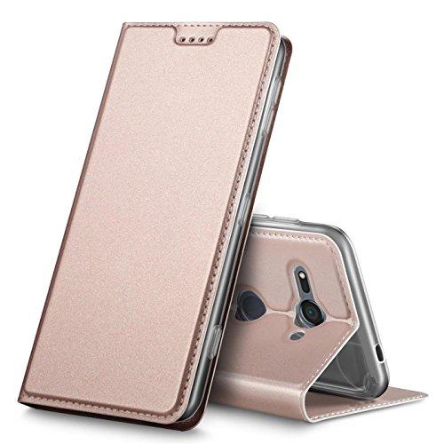 Verco Handyhülle für Xperia XZ2 Compact, Premium Handy Flip Cover für Sony Xperia XZ2 Compact Hülle [integr. Magnet] Book Case PU Leder Tasche, Rosegold